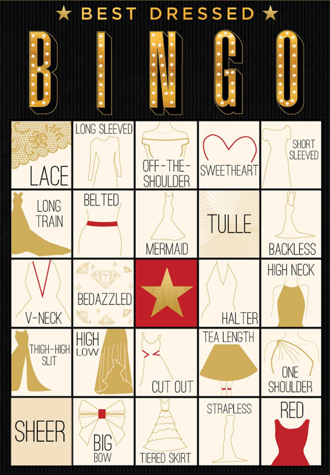 evite.com oscar fashion bingo cards
